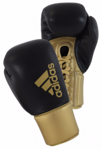 Adidas Hybrid 200 Lace Up Boxing Gloves - Black/Gold